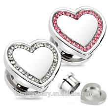 new style wholesale fashion Heart Shaped Crystal Rim Surgical Steel Screw On Flesh Plug
