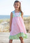 New style kids short sleeve dress girls smocking ruffle dress for summer wear wholesale baby clothes