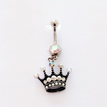 Body piercing jewelry belly ring navel piercing jewerly Diva Crown Shaped Dangle