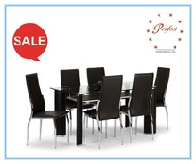 Transparent glass top, black table legs fit your restaurant table