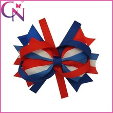 Popular Cheap America Flag Hair Accessory Hair Bows With Clip For Girls (CNHBW-1308196)
