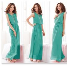 Hot Sale New Women Pleated Wave Lace Strap Princess Chiffon Maxi Dress Patterns 3694