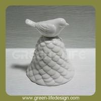 Bell shaped ceramic white bird figurine wholesale