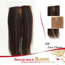"""Indian remy hair Yaki Silk base closure 3.5""""*4"""" 100% Remy human hair 16"""" Light Yaki Silk top closure"""