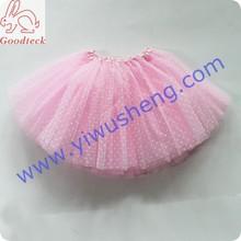wholesale chrildren wear three layers small white dots with pink background chiffon tutu skirt,baby fashion tutu/pettiskirt