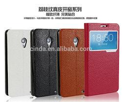 30pcs/lot Slim Transparent View Style Genuine Leather Case Case For MEIZU MX3