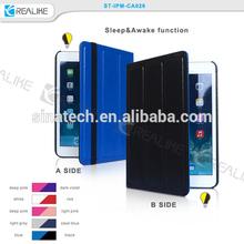 3 fold stand silk leather + transparent PC case for apple ipad mini 3