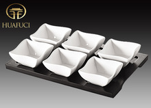 Ceramic wooden serving set, White Porcelain Serving Dish , Porcelain Square bowl shape Dish set