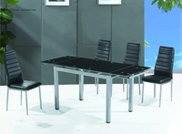 Modern dining table Chromed frame and leg withTempered glass top, extendable size dining table