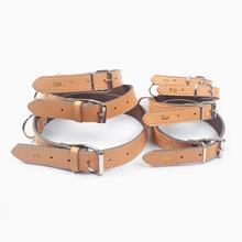 Genuine Leather Dog Leash Khaki Collar Lead 7 sizes available