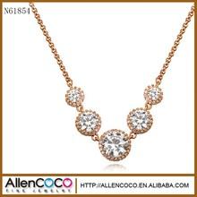 güney kore moda parlayan alaşım elmas beş yuvarlak kristal kolye