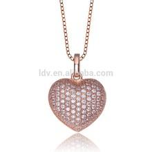 Rose gold heart CZ stone brass , crystal Zircon,Love necklace/ valentine's day Gift pendant Necklace