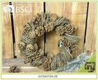 home holiday Christmas decoration wild branch and pinecone wreath