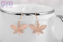 Diamond opal dangle earring, girls butterfly shape earring
