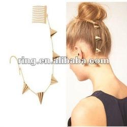 GOLD EAR CUFF EARRINGS HAIR COMP CHAINS PUNK BOHO DESIGN NON PIERCED EAR CUFF