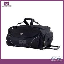 Newest Fancy Design Black Waterproof Rolling Travel Duffel Bag