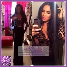 Pretty Girl Black Sexy Open Side Long Sleeve Side Slit Evening Dress 2015
