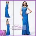elegante señoras maduras vaina vestido largo azul sin espalda de encaje vestido de noche 2015