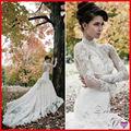 Abrir voltar baguetes Appliqued Lace vestido de casamento gola alta manga comprida
