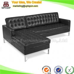 (SP-CS105) american black modern corner leather sofa for sale