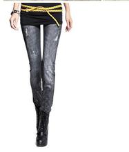 New elastic jeans women style popular long fashion denim jeans destroyed jeans for men