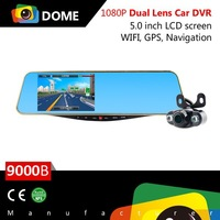 2015 New Arrival Andriod System Car Rearview Mirror 5 inch GPS Navigation+Wifi+Parking Camera Three-in-one DVR