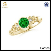 Fashion emerald ring,diamonds vintage ring,18k gold plated sterling silver jewelry