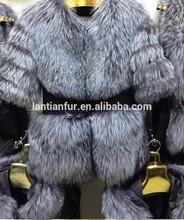 High quality fox fur coat /silver fox fur coat/winter coats for women