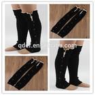 New design pelerine lace knee high black lady socks