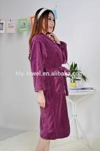 Personalized women purple coral fleece bathrobe