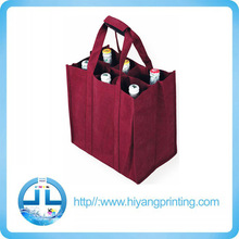High quality Red Non-woven wine bottle bag, eco friendly 80g non woven wine bag