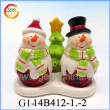 Decorative snowman ceramic salt jar, christmas pepper jar