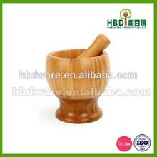 Madera/de madera masher ajo/masher con la etiqueta engomada