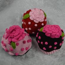 Lovely Baby Girls Crochet Flower Knit Warm Handmade Hat Caps Fit 3-6 Months