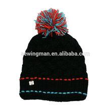 Fashion iceland yarn warm thicker cable knit pom pom hat beanie