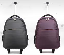 Silver trolley hard luggage bag rolling laptop bag
