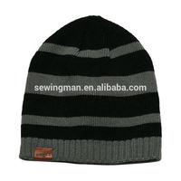 men's winter acrylic knitting stripe skull beanie hat