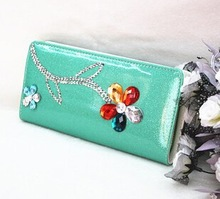 Korean style fancy diamond flower leather change purse wholesale fancy women wallets