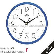 25cm plastic quartz wall clock blue color