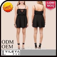 fashion woman clothing oem sexy ladies night dress sex black