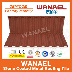 Traditional Wanael stone coated metal roof sheet prices/red color metal roof tile/Korea technology