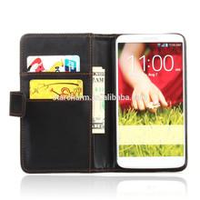Scratch resistant mobile leather wallet case flip cover for Lg g4
