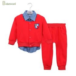 baby boy's long sleeve suits polo t-shirt + pants 3pcs set infants soft casual suit wholesale children's boutique clothing