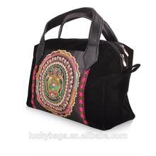 Professional manufacturer black woman handbag pretty Miao embroidery handbag