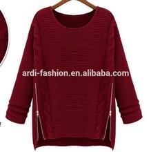 best-selling custom side zip autumn winter fat ladies cable knit women sweater