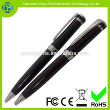 2015 perfil de alta calidad bolígrafo retráctil, laca de color negro bolígrafo, pluma impreso para la promoción de la marca
