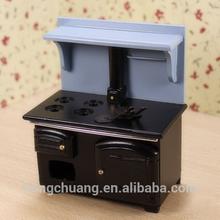 1/12 scale wood kitchen room vintage kitchen utensils black stove mini furniture for doll house