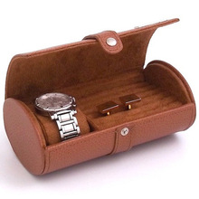 high end custom made round PU leather watch case