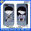 Best 3D depth printing, paint leather case for phone for iphone 5, 3D boy and girl