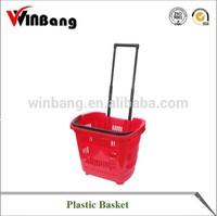 Winbang Good Price supermarket trolley skep Plastic Skep with Wheels